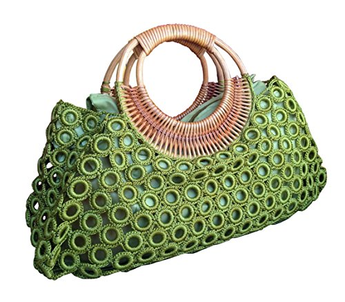Knitted Purse Handles (BTP Women's Handmade Crochet Bag Rattan Loop Top Handles Handbags (Green))