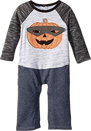 Mud Pie Baby Boys Halloween Pumpkin Long Sleeve One Piece Playwear Set, Gray 0-3 Months ()