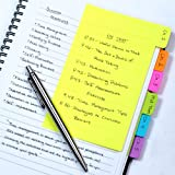 Redi-Tag Divider Sticky Notes, Tabbed Self-Stick Lined Note Pad, 60 Ruled Notes, 4 x 6 Inches, Assorted Neon Colors (29500)