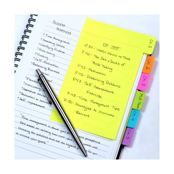 Redi-Tag Divider Sticky Notes, Tabbed Self-Stick Lined Note Pad, 60 Ruled Notes, 4 x 6 Inches, Assorted Neon Colors