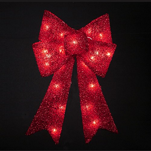 """Kurt Adler 15"""" Lighted Red Tinsel Bow Christmas Hanging Window Decoration - Clear Lights"""