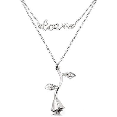 ba8fadbfdcee Gleamart Vintage 3D Rose Collier Fleur Pendentif Double Couche Collier pour  Femmes Fille Saint Valentin Bijoux