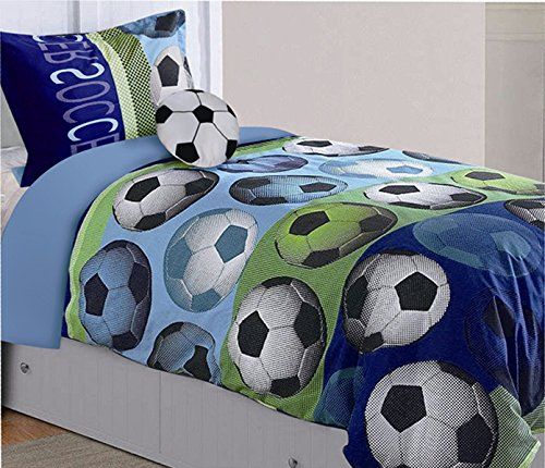 fancy linen collection 8 pc full size soccer blue green white black kids/teens comforter set with furry buddy included