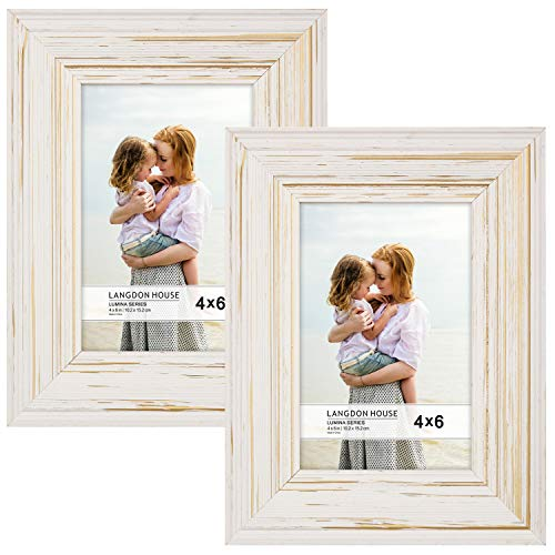 Langdons 4x6 Real Wood Picture Frames (2 Pack, Weathered White - Gold Accents), White Wooden Photo Frame 4 x 6, Wall Mount or Table Top, Set Of 2 Lumina Collection ()