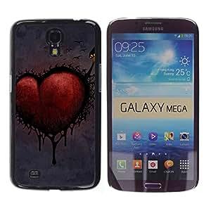 Paccase / SLIM PC / Aliminium Casa Carcasa Funda Case Cover - Love Goth Heart Dark - Samsung Galaxy Mega 6.3 I9200 SGH-i527