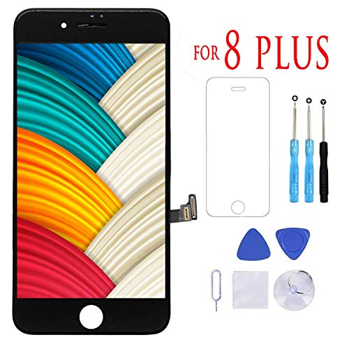 CJDM Compatible with iPhone 8 Plus Screen Replacement Black Display Touch Screen LCD Digitizer Assembly with Repair Tools Kit Screen Protector ()