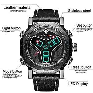 RISTOS Hombre Digital Militar Al Aire Libre Reloj Analógico y Digital Multifunción con Alarma 30M Impermeable Deportes Casual Lujo De Cuero Reloj