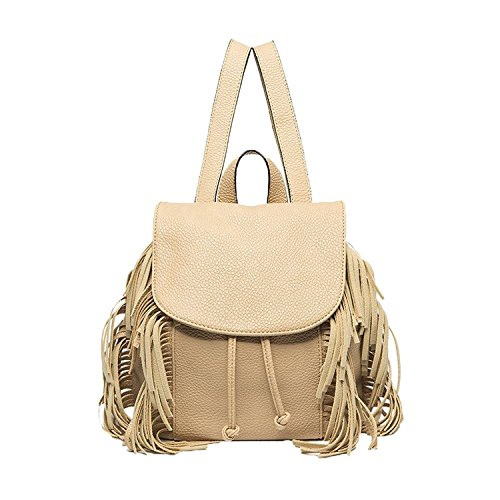 Melie Bianco Emma Vegan Leather Fringe Mini Backpack, Nude