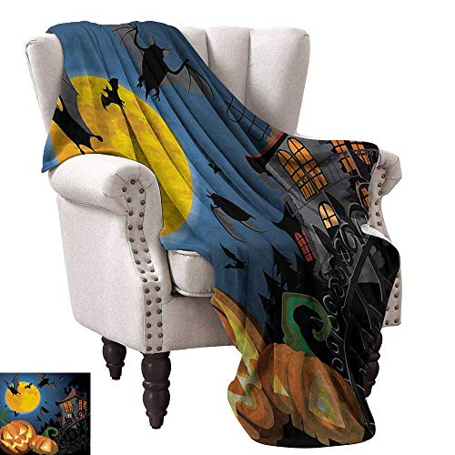 WinfreyDecor Halloween Reversible Blanket Gothic Halloween Haunted House Party Theme Design Trick or Treat for Kids Print Bedroom Warm 36