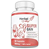 HerbalValley Super Gain Natural 60 Capsules For Men & Women | Increase Appetite | Natural Weight Gain | Boost Energy Level (Pack of 1)