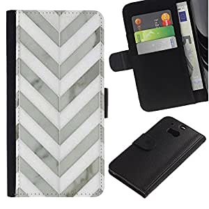 HTC One M8 Modelo colorido cuero carpeta tirón caso cubierta piel Holster Funda protección - Chevron White Gray Metal 3D Pattern