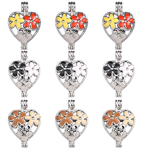 9pcs Mixed New Enamel Heart Shape Style Pearl Bead Cage Pendant Essential Oil Scent Diffuser Pendant Necklace Jewelry Making Supplies (Flower)