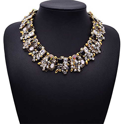 NABROJ Crystal Statement Necklace, Vintage Chunky Chain Choker Bib Statement Necklace Fashion Costume Jewelry Necklaces for Women 1 PC with Gift Box-NC01 Black and - Necklace Vintage Chunky