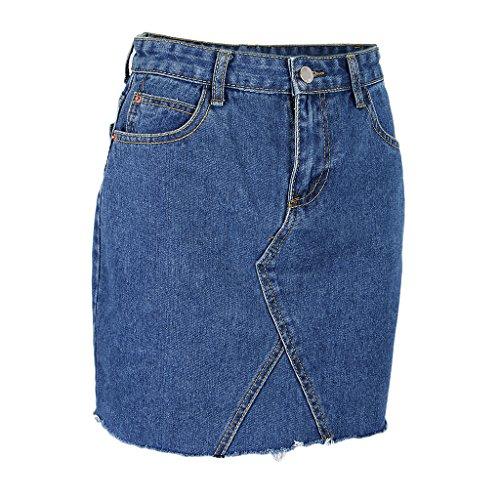 Taille Prettyia t Skinny Mode Mini Jupe Jupe Denim Denim Jeans Filles Femme P Dechir XL Casual Jupe Blue Slim S Court Haute Jupe pqwndOPUO