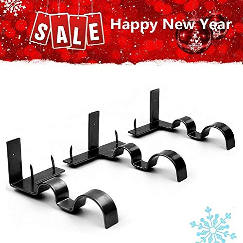 Meethome Double Curtain Rod Brackets, Kwik Hang Curtain Rod Holders Tap Right Into Window Frame, Curtain Holders for Bedroom Decoration
