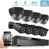 Amcrest 4K 8CH Security Camera System w/ 4K NVR, (8) x 4K (8-Megapixel) IP67 Weatherproof Bullet & Dome POE IP Cameras (3840x2160), 2.8mm Angle Lens, Pre-Installed 4TB HDD, 98ft Nightvision (Black)