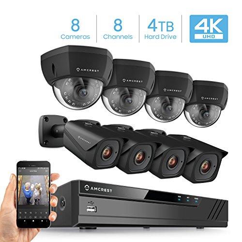 Amcrest 4K 8CH Security Camera System w/ 4K NVR, (8) x 4K (8-Megapixel) IP67 Weatherproof Bullet & Dome POE IP Cameras (3840×2160), 2.8mm Angle Lens, Pre-Installed 4TB HDD, 98ft Nightvision (Black)