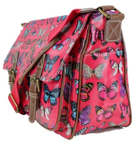 Miss Lulu - Bolso estilo cartera para mujer Butterfly Plum/Red