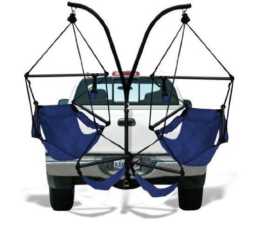 Trailer Hitch Stand and 2 Blue Hammaka Chairs Combo - Alum