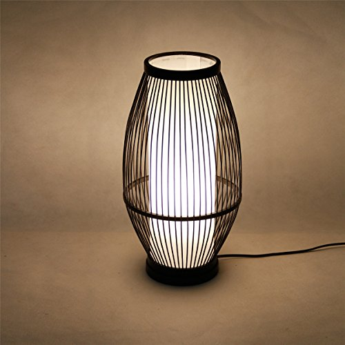 - Japanese-Style Hand-Woven Bamboo lamp, Simple Nature Restaurant Tea Room Decoration lamp, Warm Home Bedroom Bedside lamp (Color : Black)