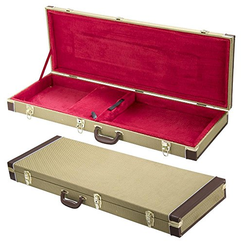 (Yaheetech Rectangle Shaped Tweed Hardshell Guitar Case for Strat/Tele-Gold)