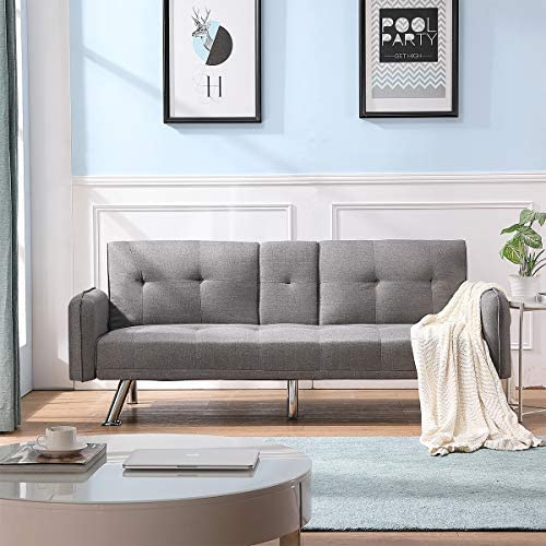 Depointer Sleeper Couch Convertible Feature Modern Futon Beds Lounger Sectional Sofa Couch Fully Reclining Chaise,Light Grey