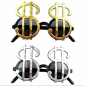 URTop 4 Pairs Creative Gold &Silver Shiny Dollar Sign Costume Glasses Money Party Favors Photobooth Eyewear Props Event Festive Party Supplies Decoration