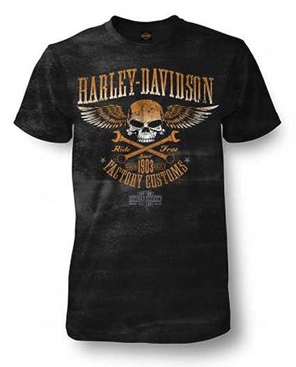 4b2e3180 Harley-Davidson Men's Trigger Skull Premium Short Sleeve Crew-Neck T-Shirt (