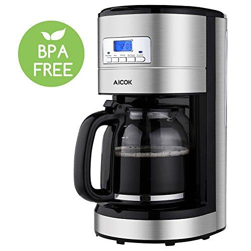 Coffee Maker, Aicok 12 Cup Coffee Maker, Coffee Maker Programmable, Coffee Pot, Coffee Filter, Drip Coffee Maker, 24 Hours Programmable Setting, Quiet Coffee Maker