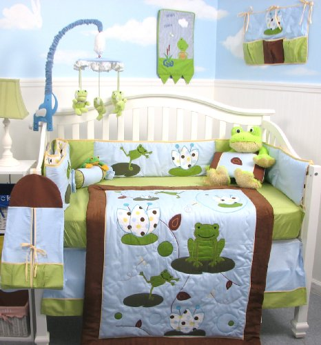 Frog Nursery Bedding - SoHo Froggies Party Baby Crib Nursery Bedding Set 13 pcs included Diaper Bag with Changing Pad & Bottle Case