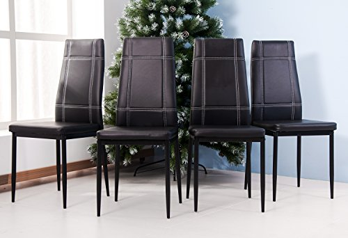 Merax 4pcs Dining Chairs in Black with Metal Leg and PU leather (4 Pcs, Black)