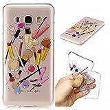 Qiaogle Phone Case - Soft TPU Silicone Case Cover Back Skin for Samsung Galaxy J7 (2016) / J710 (5.5 inch) - HC10 / Lip gloss + eyebrow pencil