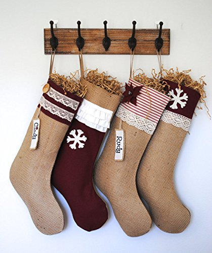 Burlap Christmas Stockings.Amazon Com That Dutch Girl 4 Shabby Chic Burlap Christmas