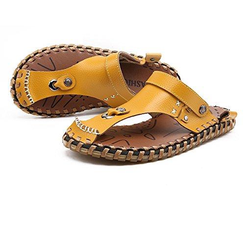 Amarillo genuino playa ojotas de Suaves hombres sandalias con para Cuero espalda planas sandalias casuales antideslizantes para y Chanclas hombres sin Zapatos Zapatillas gwqYtf1gx