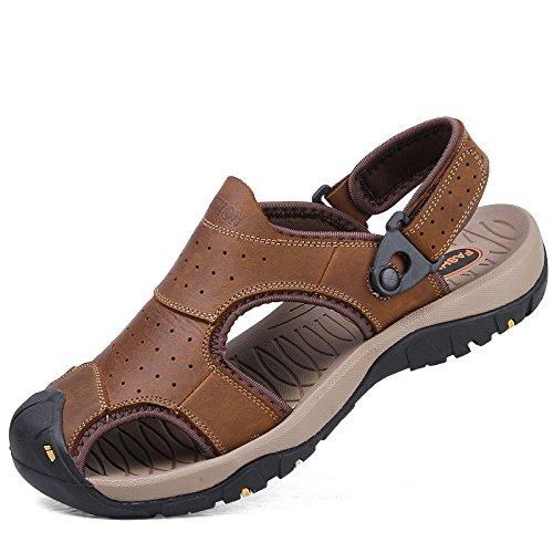 Xing Lin Sandalias De Verano Los Hombres Calzado De Playa _ Exterior Zapatillas De Playa De Hombres Llevar Zapatillas De Cuero Antideslizante Baotou Grandes Hombres Khaki