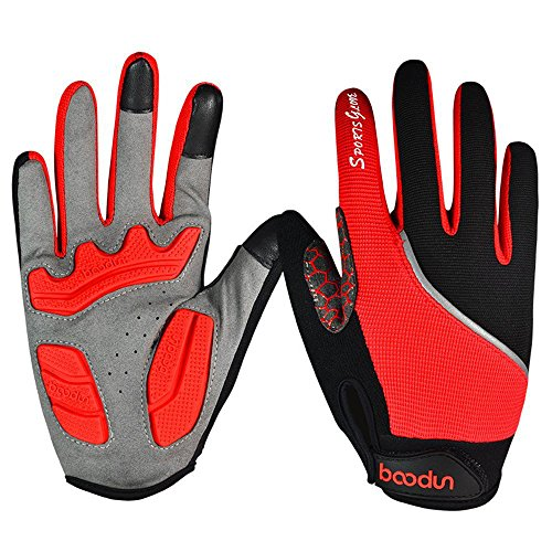 Ezyoutdoor Unisex Lycra Full Finger Outdoor Touch Screen Cycling Gloves with Shock-absorbing Gel Pad Breathable Touchscreen Bike Gloves (Red, Small)