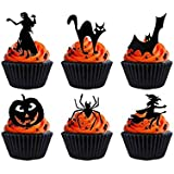 24 x Halloween Party Black Silhouette (6) STAND UP STANDUPS Fairy Muffin Cup Cake Toppers Decoration Edible Rice Wafer Paper