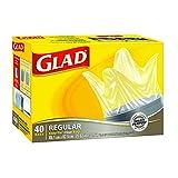Glad Clear Garbage Bags - Regular 75 Litres - Easy-Tie Handles, 40 Trash Bags