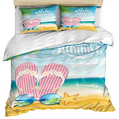 (Hello Summer 3 Piece Bedding Set Comforter Cover Full Size, Flip Flop Sunglasses and Starfish Summer Sea Beach Theme, Duvet Cover Set with Zipper Closure for Childrens/Kids/Teens/Adults )