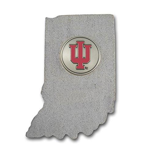 (Indiana Shape Paperweight with Indiana University Block IU Nickel Silver Emblem IULS01B IMC-Retail)
