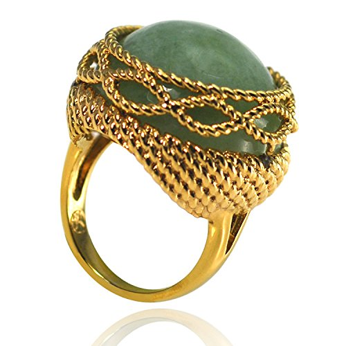 De Buman 14k Yellow Gold Plated Green Jade Ring, Size 5.75