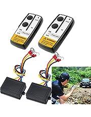 2PCS Winch Remote Control, 12V Car Wireless Winch Remote Control Kit, Manual Wireless Winch Traction Remote Control Switch, Suitable for Small Trailer/Truck/Jeep/Boat/SUV/ATV