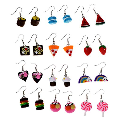 Cren Fashion Soft Ceramic Handmade Food Theme Stud Earrings Set of 12(Color random) - Ceramic Earrings Set