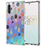MOSNOVO Galaxy Note 10 Case, Cute Pineapple Pattern Clear Design Printed Transparent Plastic Hard Back Case with TPU Bumper Protective Case Cover for Samsung Galaxy Note 10
