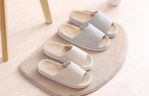 Unisexe Home Ouvert Femme Maison Lin Homme Lin Confort en Bleu Chaussons VWU Pantoufle Coton Bout Antidérapante SqgWwpdqn