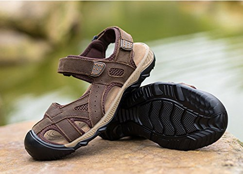 Uomo Sandali Baotou Outdoor da Beach Casual LEDLFIE Shoes Darkbrown dTPgExqwd