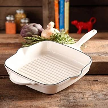 The Pioneer Woman 82762.01R Timeless Square Cast Iron 10.25  Cast Iron Enamel Grill Pan, Linen