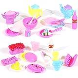Rainbow Yuangou Barbie Size Dollhouse Furniture- Accessories Plate Glasses Spoon