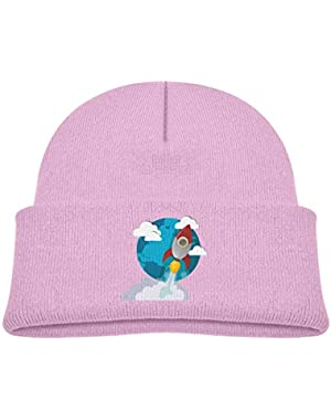 Kids Knitted Beanies Hat Cartoon Rocket Takeoff to Blue Planet Winter Hat Knitted Skull Cap for Boys Girls Blue