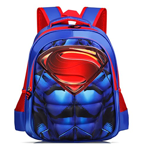 Backpack Superman (YOURNELO Boy's Cool 3D DC Comics Marvel's The Avengers School Backpack (Superman S))